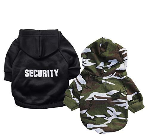 Ollypet Hund Hoodie Sicherheit Kleidung für Haustiere Camo Puppy Fleece Outfit Winter Bekleidung Teetasse Chihuahua Yorkie 2Stück, S, Schwarz