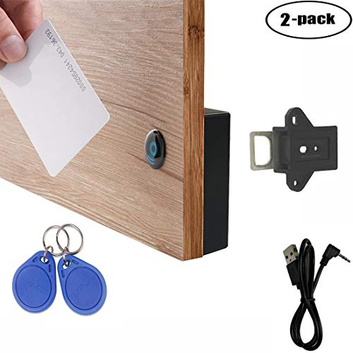 WOOCH RFID Locks for Cabinets Hidden DIY Lock - Electronic Cabinet Lock with USB Cable, RFID Card/Tag/Wristband Entry (2 Pack)