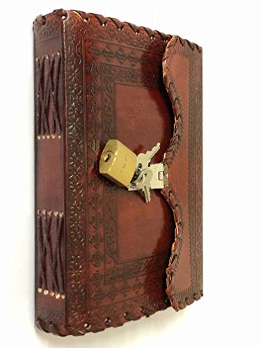 VINTAGE CRAFT SHOP Leather Journal Writing Notebook Planner Daily Notepad Bound Diary with Lock and Key Antique Brown for Men & Women
