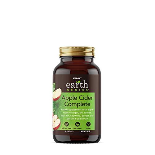 Sidra de manzana GNC Earth Genius completa, 90 cápsulas, soporte de energía y favorece la digestión