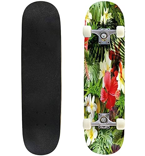 """Tropical Floral Pattern Exotic Leaves and Flowers Seamless Pattern Skateboard 31""""x8"""" Double-Warped Skateboards Outdoor Street Sports Skateboard for Beginners Professionals Cool Adult Teen Gifts"""
