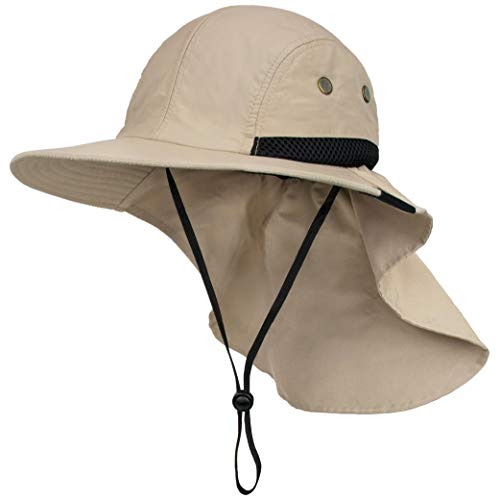 Fishing Hat with Neck Flap, Sun Protection Hiking Hat for Men Women Safari Cap Tan