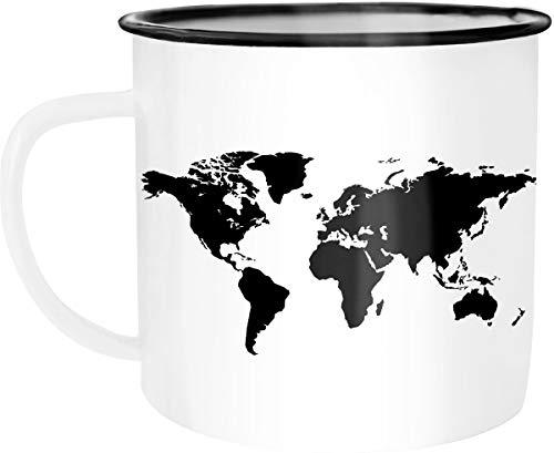 Autiga Emaille Tasse Becher Weltkarte World Map Kaffee-Tasse weiß-schwarz unisize