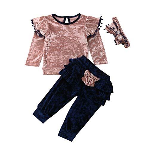 Allence Baby Kleidung Set, 3pcs Mädchen Kleidung Lange Ärmel Strampler Overall+Hosen +Haarband Outfits Spielanzug Set