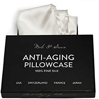 Anti-Aging 100% Mulberry Silk Pillowcase by Meili & Grace-The Best Pure Silk Pillowcase for Hair and Skin - Prevents Crow's Feet + Forehead Wrinkles + Fine Lines. Eliminates Hair Frizz and Tangling.