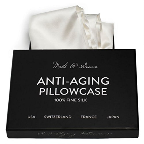 Anti-Aging 100% Mulberry Silk Pillowcase By Meili & Grace -the best pure silk pillowcase for hair and skin - Prevents Crow's Feet + Forehead Wrinkles + Fine Lines. Eliminates Hair Frizz, and Tangling.