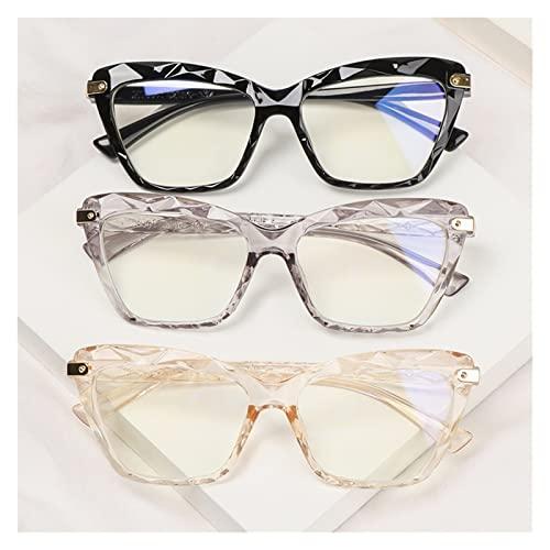 Gafas de Lectura, Lentes de Gran tamaño 3pcs de Moda, Bloqueo de Rayos Azules, Gafas de computadora ópticas de Ojo de Gato Retro, Gafas de luz Anti Azule for Mujer (Color : Type 1-3pcs, Size : +1)
