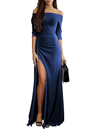 Off The Shoulder High Slit Ruched 3/4 Sleeves Metaillic Elegant Formal 2018 Evening Party Prom Cocktail Wedding Dress Small (4-6) L-blue