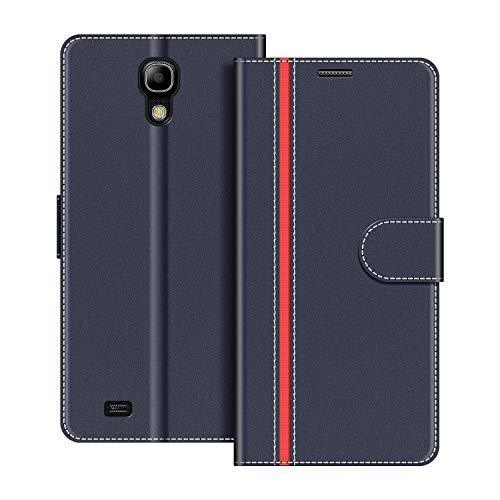 COODIO Handyhülle für Samsung Galaxy S4 Mini Handy Hülle, Samsung Galaxy S4 Mini Hülle Leder Handytasche für Samsung Galaxy S4 Mini Klapphülle Tasche, Dunkel Blau/Rot