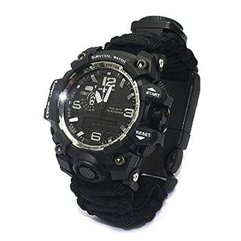YzoTek 6 en 1 Montre-Bracelet de Survie en Plein Air, Outils de Premiers Soins avec Bracelet Étanche pour Sports d'urgence avec Paracord, Boussole, Thermomètre, Sifflet, Allume-feu, Grattoir