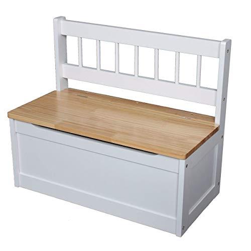 Holz Kinderbank weiß - 60x50x30 cm - Kinder Sitzbank Truhenbank Kindermöbel Holzbank Sitztruhe