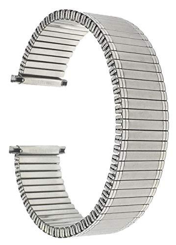 Bandini 14mm Silber Ton Edelstahl Stretch Uhrenarmband für Damen - Gerades Ende - Ersatzband Metall-Dehnungsarmband für Uhren - Keine Schließe