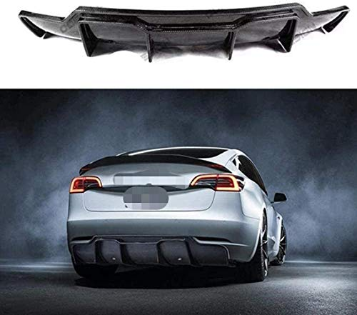 ZPDM Fibra De Carbono Real Parachoques Trasero Labio Trasero para Tesla Modelo 3 2017-2019 Labio Trasero Gran Carcasa Modificación Alerón Trasero Difusor Trasero Cuerpo