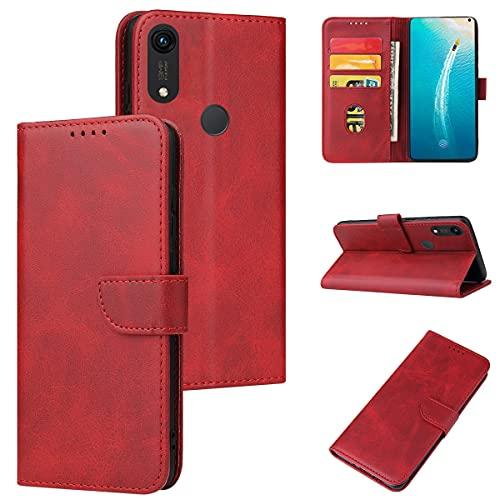 ANCASE Funda de Cuero Compatible con Huawei Honor 10 Lite/P Smart 2019 Rojo con Tapa Libro PU Case Cover Completa Protectora Funda para Teléfono Piel Tarjetero Modelo