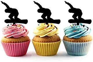 Snowboard Snowboarding Silhouette Acrylic Cupcake Toppers 12 pcs