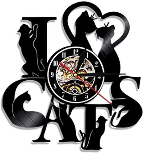 Reloj de pared de vinilo con diseño de gato y pareja de vinilo para regalo creativo para niños y niñas adolescentes y amigos, diseño único de arte, reloj de pared de vinilo de 30,48 cm