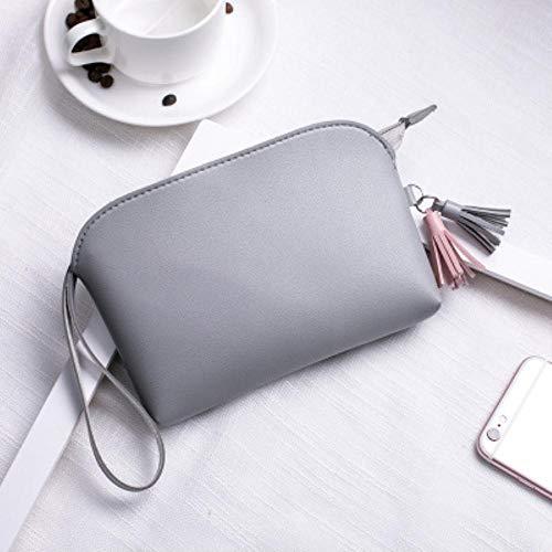 SAGIUSDM Multifonction sac à main maquillage sac à cosmétiques trousse de toilette étui de voyage sac portable sac à bandoulière sac de maquillage de couleur unie, gris