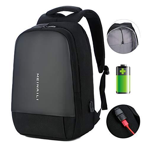 Mochila antirrobo para Ordenador portátil de 15,6 Pulgadas, Repelente al Agua, con Puerto de Carga USB, Duradera Mochila Escolar para Viajes, para Mujeres y Hombres