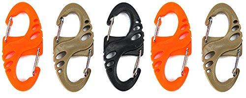 ZENDY plastique PVC ressort serrure en forme de S PVC verrouillage mousqueton porte-clés porte-clés porte-crochet pour la maison, RV, camping, pêche, randonnée, voyage et porte-clés, des couleurs assorties. (Pack5)