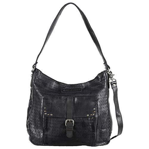 Taschendieb Wien Leder Hobo Bag Beuteltasche Schultertasche TD0615, Farbe:Anthrazit