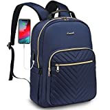 LOVEVOOK Laptop Backpack for Women Quilted Business Work Computer Bags Stylish Purse Bookbag, 15.6-Inch, Navy