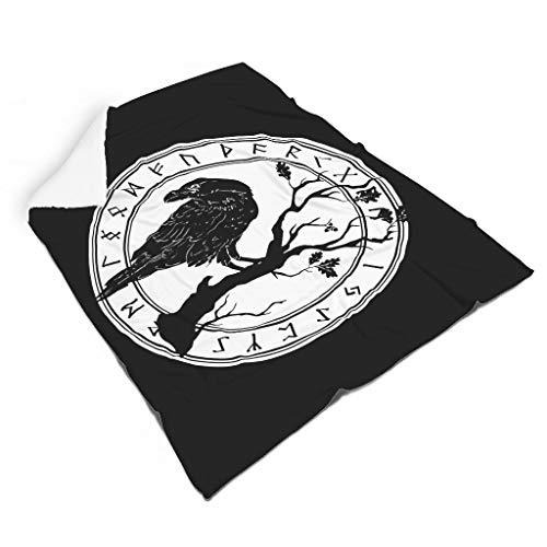 Magiböes Franela vikinga Raven sobre rama escandinava runas escandinavas impresión lisa siesta manta en la oficina decoración interior blanco 130 x 150 cm