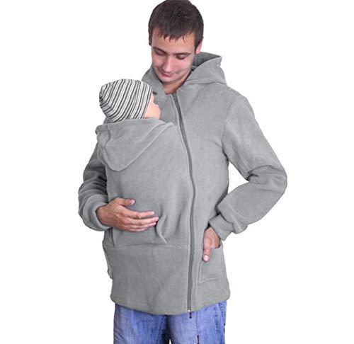 SMACO Herren Multifunktionale Känguru-Pullover Jacke 3 in 1 Babytrage Halter Pullover Top Känguru Mantel Outwear Kapuzenjacke mit Reißverschluss Übergröße, grau, XXXL