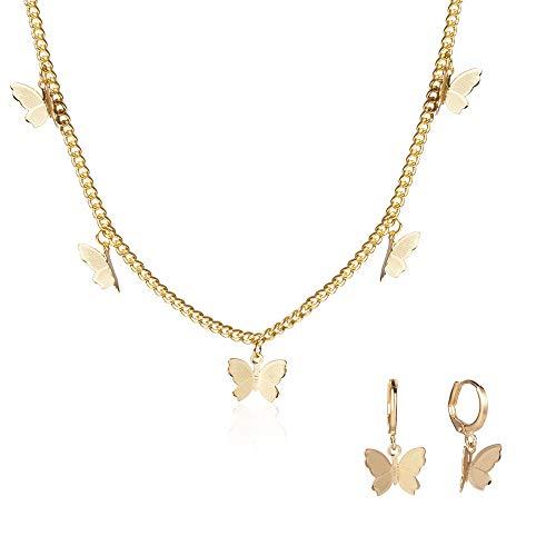 Juland - Collar con colgante de mariposa, diseño de mariposa, minimalista, joyería personalizada,...