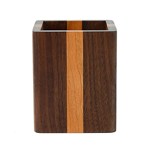 ペン立て 木製 ペンスタンド 筆立て 卓上 文具収納 箸立て 天然木 (チェリーウッド・ウォールナット)