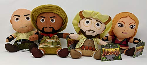 Jumanji Collectible Plush Action Figure Set of 4 Franklin Dr. Smolder Bravestone, Mouse Finbar, Professor Sheldon Shelly Oberson, and Ruby Roundhouse