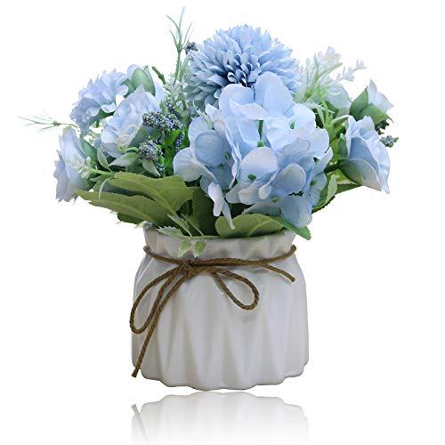 Snowve Künstliche Blumen mit Vasen - Pfingstrose Deko Blumen künstlich Blumen in Vasen Hochzeit Sträuße/Home Dekor/Party/Graves (Blau Pfingstrose)