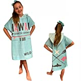 HOMELEVEL Kinder Baby Poncho Badeponcho Handtuch Cape Baumwollmischung Velours Frottee Badetuch mit Kapuze (8-11 Jahre, Hawaii Mint)