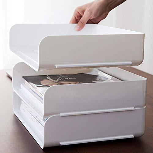 Afittel0 Apilamiento Letra Bandeja, Una Sola Capa Documento Bandeja Escritorio Organizador, Apilable Desorden Organizador para Hogar, Oficina, Personal, Blanco, 31.5 x 24.5 x 7 cm