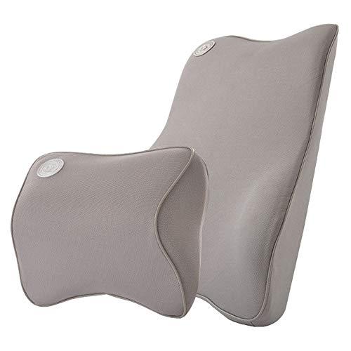 Zenshin Car Kissen, Memory Foam Car Lumbar Back Cushion & Neck Support Kissen Kit,Gray
