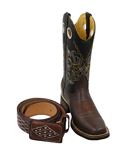 Men's Genuine Cowhide Leather Cowboy Square Toe Rodeo Boots with Free Belt_Brown-10