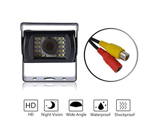 Nachtsicht Rückfahrkamera, DAFROH 120 Sichtwinkel/ 24 LED/ 9-36V Breite Spannung Farbbilder in der Nacht IP68 Wasserdicht Universal-Kamera Einparkhilfe HD Farb Rückfahrkamera für Auto Lkw Bus Usw.