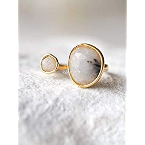 Double Stone Labradorite Open Circle Gemstone Ring