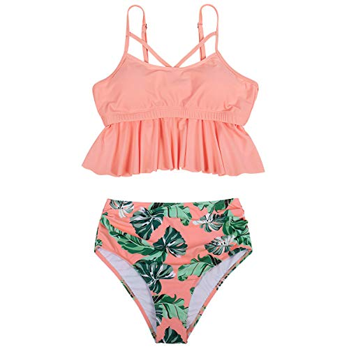 Jurebecia Mother and Daughter Swimwear Family Matching Swimsuit Girls Two Pieces Bikini Set Falbala Bathing Suits