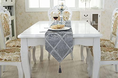 Crysdaralovebi Camino de mesa de mesa moderno Chemin De Mesa Camino De Mesa Tafelloper mantel cama bandera hogar (28 x 210 cm, gris claro)