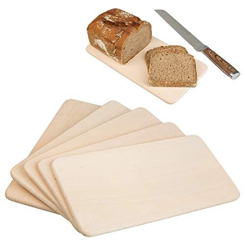 Smart Planet® 5 x Frühstücksbrett aus Holz 28,5 x 15 cm - Frühstücksbrettchen - Schneidebrett - Holzbrett - Brett aus Holz - Brotzeit - Servierbrett