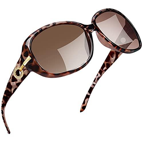 Joopin Sonnenbrille Damen Polarisiert UV400 Schutz Übergroß Klassisch Vintage Brille mit Großer Rahmen (Leapard)
