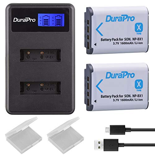 DuraPro NP-BX1 NP BX1 Akku und LCD-Dual-USB-Ladegerät für Sony NP-BX1 Akku, Sony DSC-RX100 RX100 II DSC-WX500 HX300 HX400V WX300 WX350 HDR AS100v AS200V AS15 AS30V AS300 M3 M2