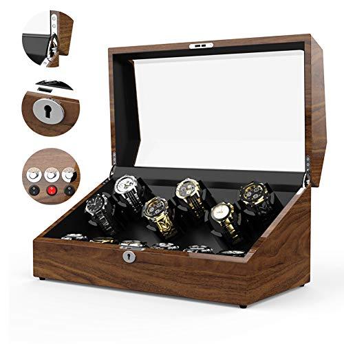 WLNKJ Automatische Wicklung Uhrenbox, Plattenspieler Mechanische Uhrenbox Elektrische Uhr Aufbewahrungsbox 6 + 6 Epitop Hohe Elastische Tischkissen