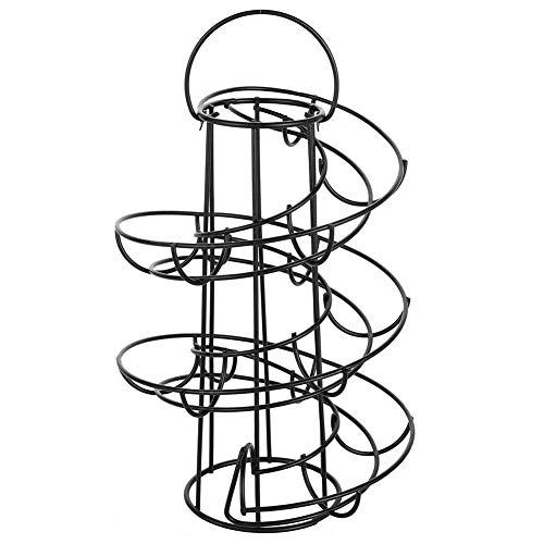 Egg Spiral Design Metal Egg Rack,Spiral Design Egg Skelter with 2 Egg Cup Holders, Large Modern Deluxe Egg Storage Dispenser Rack for Countertop Kitchen
