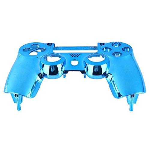 Cobeky Carcasa cromada para 4 mandos de PS4, color azul