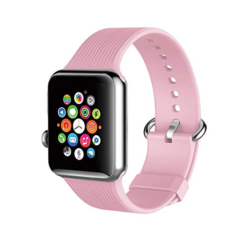 Lavaah - Correas compatibles con Apple Watch Band 38, 40, 42 y 44 mm, silicona suave para iWatch Series 6, 5, 4, 3, 2, 1, 38 mm, 40 mm (38 mm/40 mm), color rosa