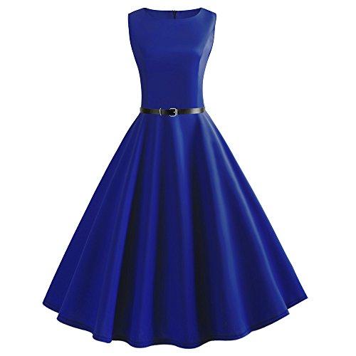 petit un compact ZEELIY Mesdames Robe Solide Sans Manches Robe De Soirée De Mariage Décontractée Rétro Style Rétro Des Années 50