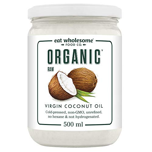 Eat Wholesome Food Co. Organic Raw Cold-Pressed Virgin, Coconut Oil, 500 Millilitre