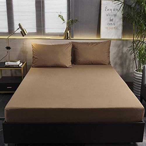 GTWOZNB Protector de colchón - Protector de colchón antialérgico Sábana de Cama Impermeable cepillada Pure Color-Brown_120cmx200cm