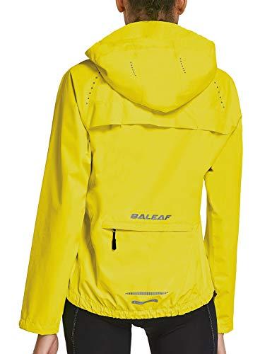 BALEAF Women's Cycling Jacket Rain Jackets Wind Breakers Waterproof Hiking Running Windproof Golf Reflective Lightweight Yellow Size S